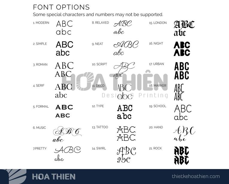 Lựa chọn font chữ, cỡ chữ