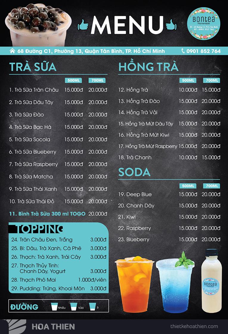 thiết kế menu trà sữa đẹp